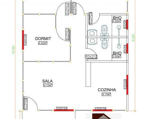 Casa de Madeira de Pinus em Autoclave de 63,37 m² Projeto 1