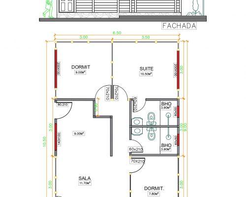 Casa de Madeira de Pinus em Autoclave de 63,37 m² Projeto 2