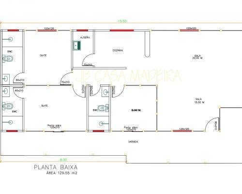 Casa de Madeira – São Gabriel da Palha-ES – 129,55 m²